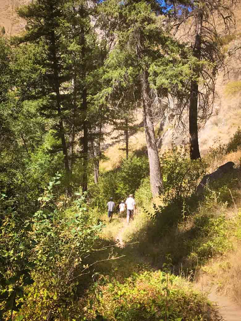 Three people hiking in the Frank Church River of No Return Wilderness during a Main Salmon River whitewater rafting vacation in Idaho.