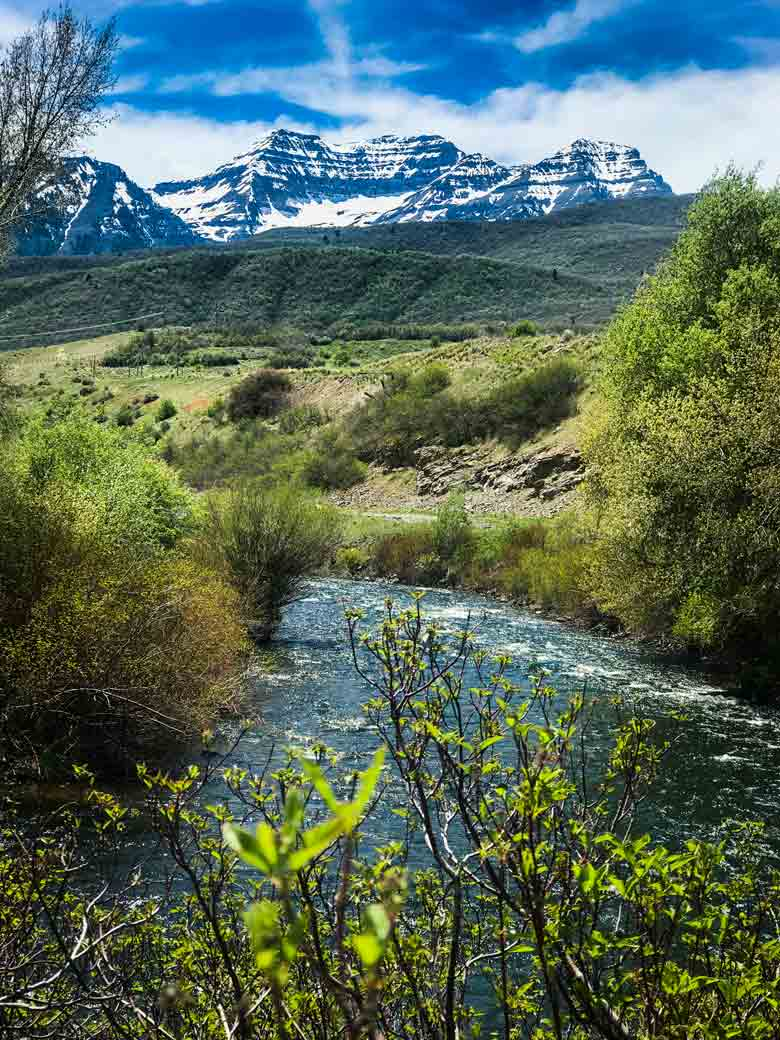 The Provo River with Mount Timpanogos near Provo, Orem and Park City Utah.