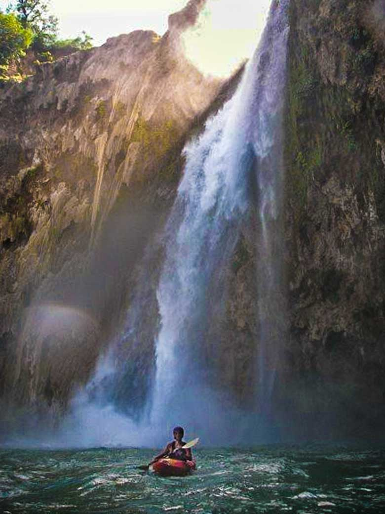 Donny doing his favorite thing. Kayaking under waterfalls. Here he is on the Micos River, Mexico.