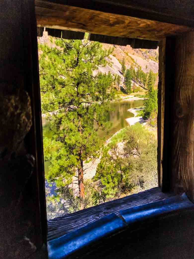 The Main Salmon River seen from an original homestead built by early Idaho settlers in the 1800s.
