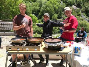 River guides serving guests lunch before a river trip on the Provo River, Provo Utah.