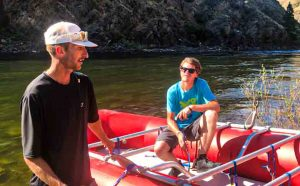 River guides training guests on river rafting on the Salmon River in Riggins Idaho.